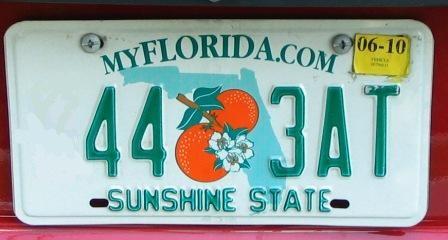 Nummernschild des Staates Florida