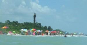 öffentlicher Strand Sanibel -Lighthouse beach am Wochenende