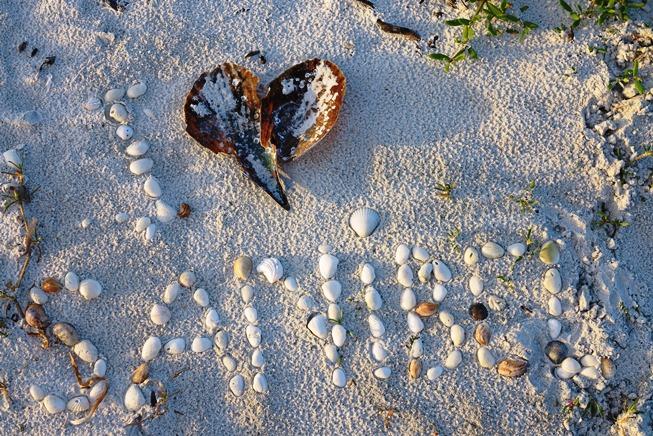 """""""I love Sanibel"""" in Sand geschrieben"""